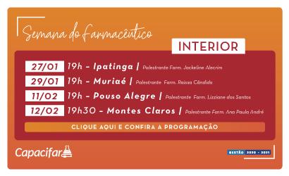 Confira a programação da Semana do Farmacêutico em Ipatinga, Muriaé, Pouso Alegre e Montes Claros